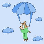 The kangaroo with the kid in a bag flies on a parachute among clouds — Stock Photo