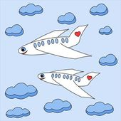 Enamored planes fly in the sky among clouds — Stock Photo