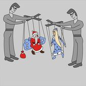 Santa Claus and the Snow Maiden in hands of puppeteers — Stock Photo
