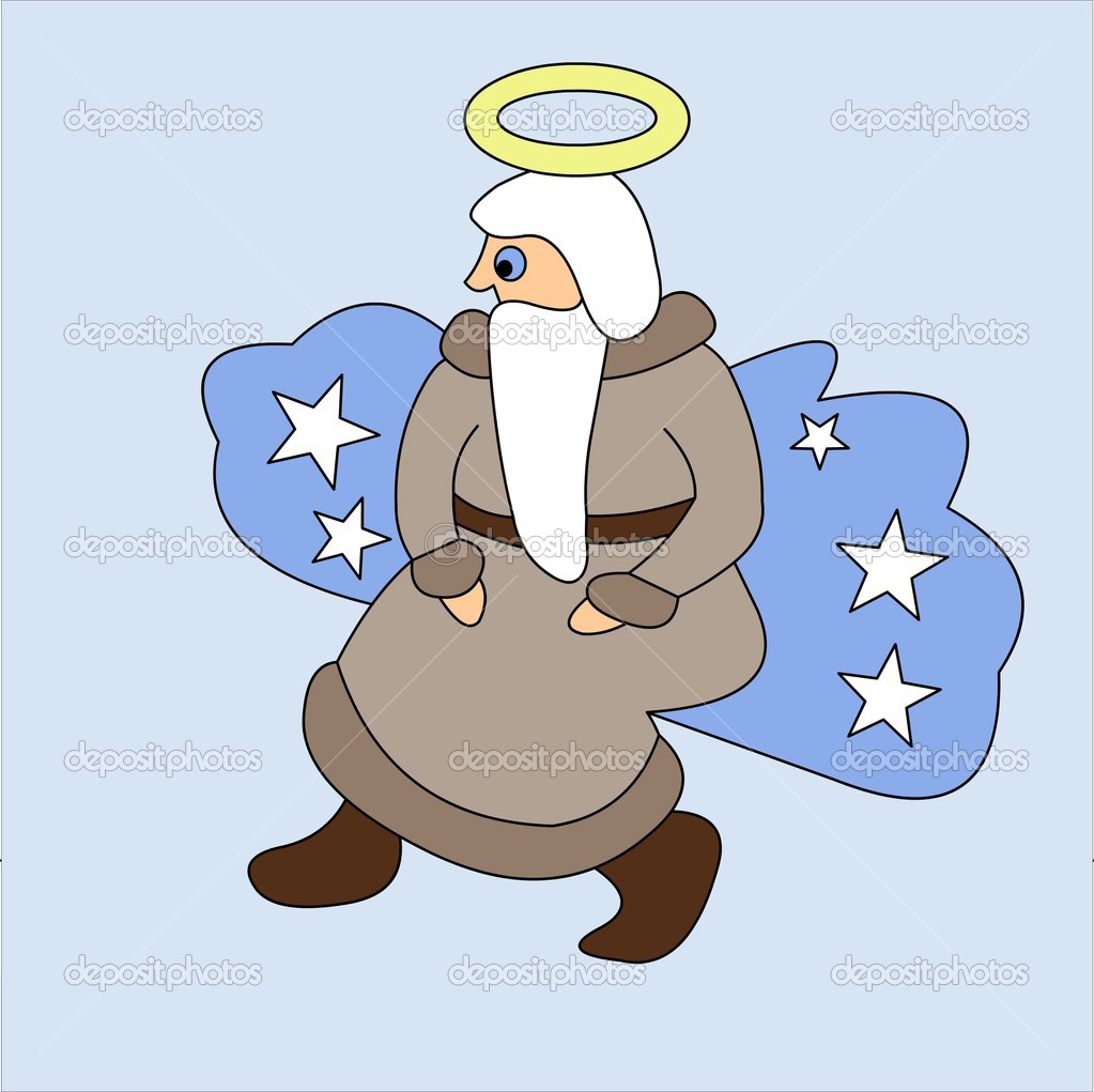 God in the form of the grandfather with a beard on a cloud.  Stock Photo #4513477