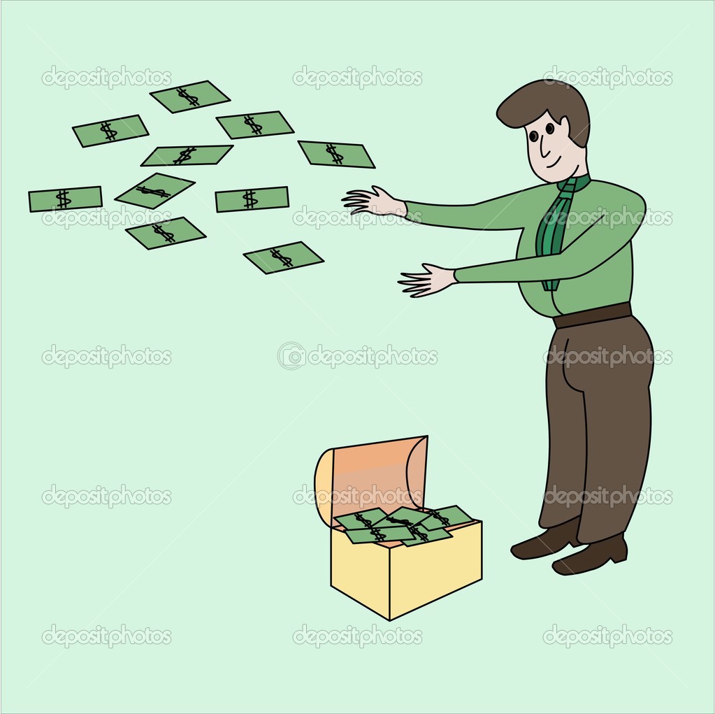 The thick rich man scatters dollars from a chest with money.  Stock Photo #4513482