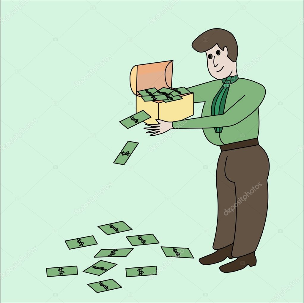 The thick rich man has control over a chest with the money falling on a floor. — Stock Photo #4513483