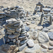 Children constructions from stones on lake Baikal, Russia — Stock Photo