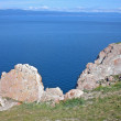 Rocky coast of lake Baikal on island Olkhon, Russia — Stock Photo