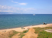 Beach on lake Baikal, Russia — Stockfoto