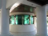 De tank met kleine vissen en de duiker in een interieur van hotel — Stockfoto