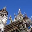Fragment of an under construction Buddhist wooden temple of True — ストック写真