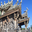Fragment of an under construction Buddhist wooden temple of True — Stock Photo #4745770