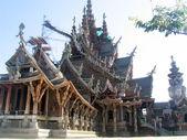 Boeddhistische houten tempel van ware, pattaya — Stockfoto