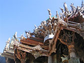 Fragment of an under construction Buddhist wooden temple of True — Stock Photo