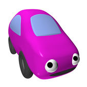 The small toy female car 3d with eyes, it is isolated — Stock Photo