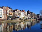The Netherlands, quay in the city of Leiden — Stock Photo