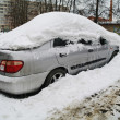 The car in snow in the winter, Moscow Region - ストック写真