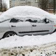 The car in snow in the winter, Moscow Region - Foto de Stock