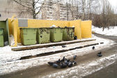 Garbage tanks about the house and pigeons in the winter, Moscow Region — Stock Photo