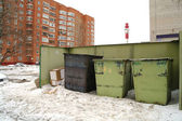 Garbage tanks about the house in the winter, Moscow Region — Stock Photo