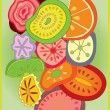 Stock Vector: Fruit slices