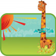 Stock Vector: Giraffe in clouds