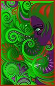 Purple woman on green swirls — Stock Vector