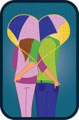 Couple under umbrella — Stock Vector