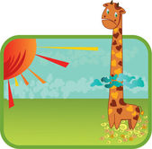 Giraffe in the clouds — Stock Vector