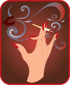 Hand with cigarette — Stock Vector
