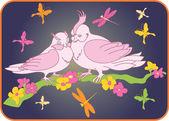 Due uccelli su un ramo con fiori — Vettoriale Stock