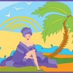 Girl near palm tree — Stock Vector #3675520