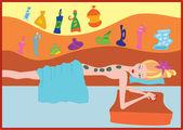 Hot stone massage — Stock Vector