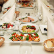 Restaurant wedding banquet table — Stockfoto