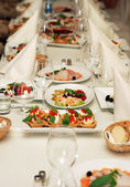 Restaurant wedding banquet table — Stock Photo