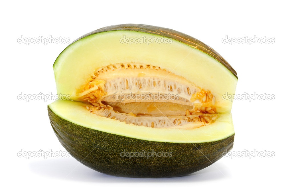 An open melon isolated on a white background — Stock Photo #3519506