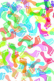Pegadas de cores diferentes — Foto Stock