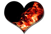 A heart with red fire flames — Stock Photo