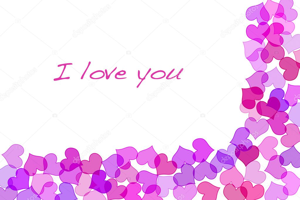 Sentence I love you and hearts drawn on a white background  Stock Photo #3535630