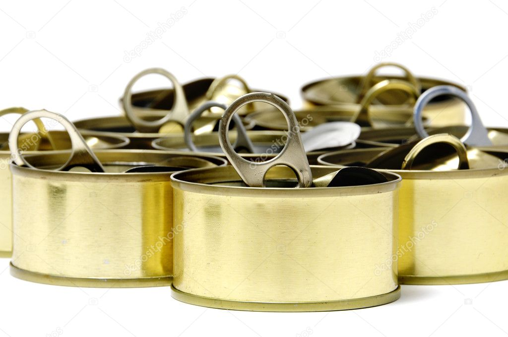 A pile of cans isolated on a white background — Stock Photo #3535703