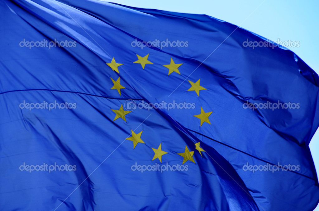 An european flag waving in the wind — Stock Photo #3535899