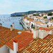 Aerial view of Cadaques, Spain - Stock Photo