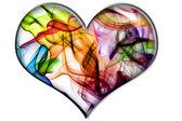 Colores smoke heart — Stock Photo