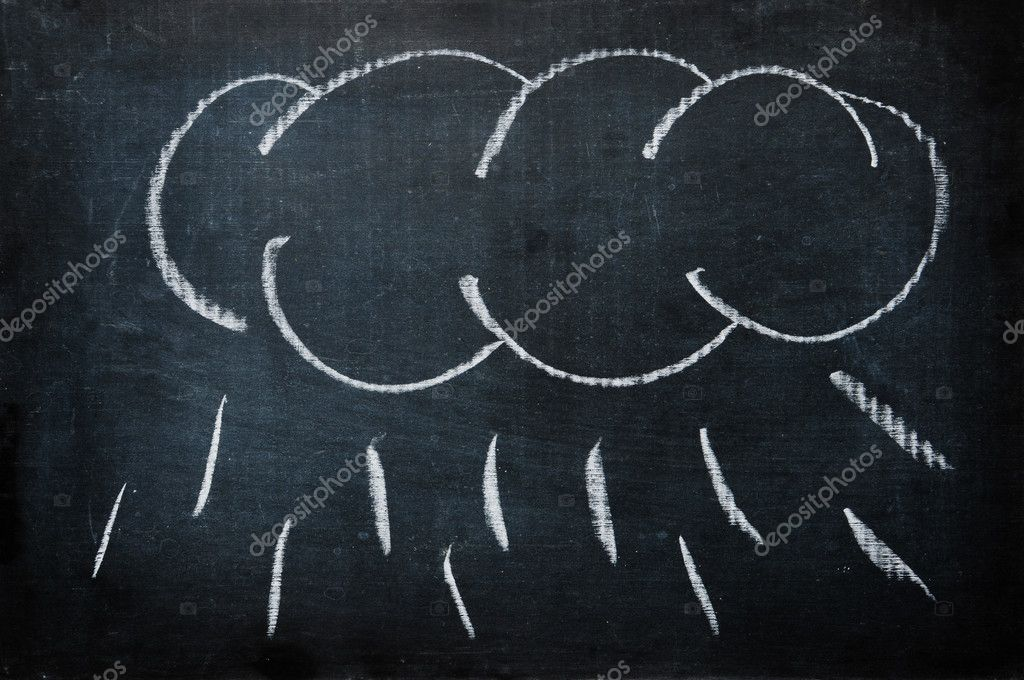 A cloud with rain drawn with a chalk on a blackboard — Stock Photo #3717355