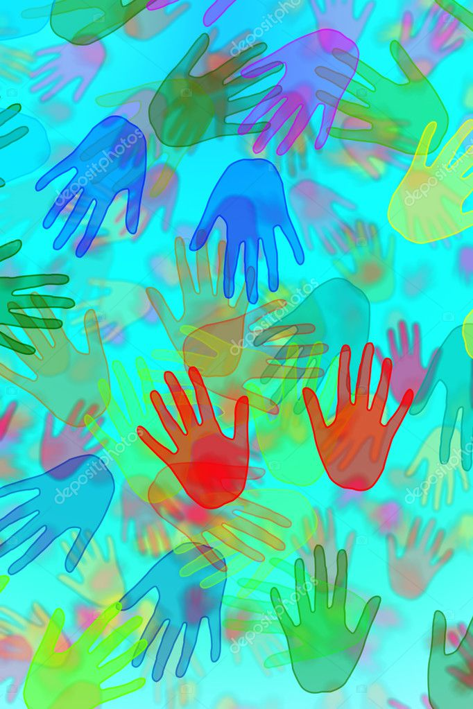 Hands of different colors drawn on a blue background — Stock Photo #3760198