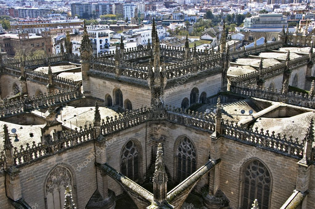 Aerial view of Seville Cathedral, in Seville, Spain — Stock Photo #3800391