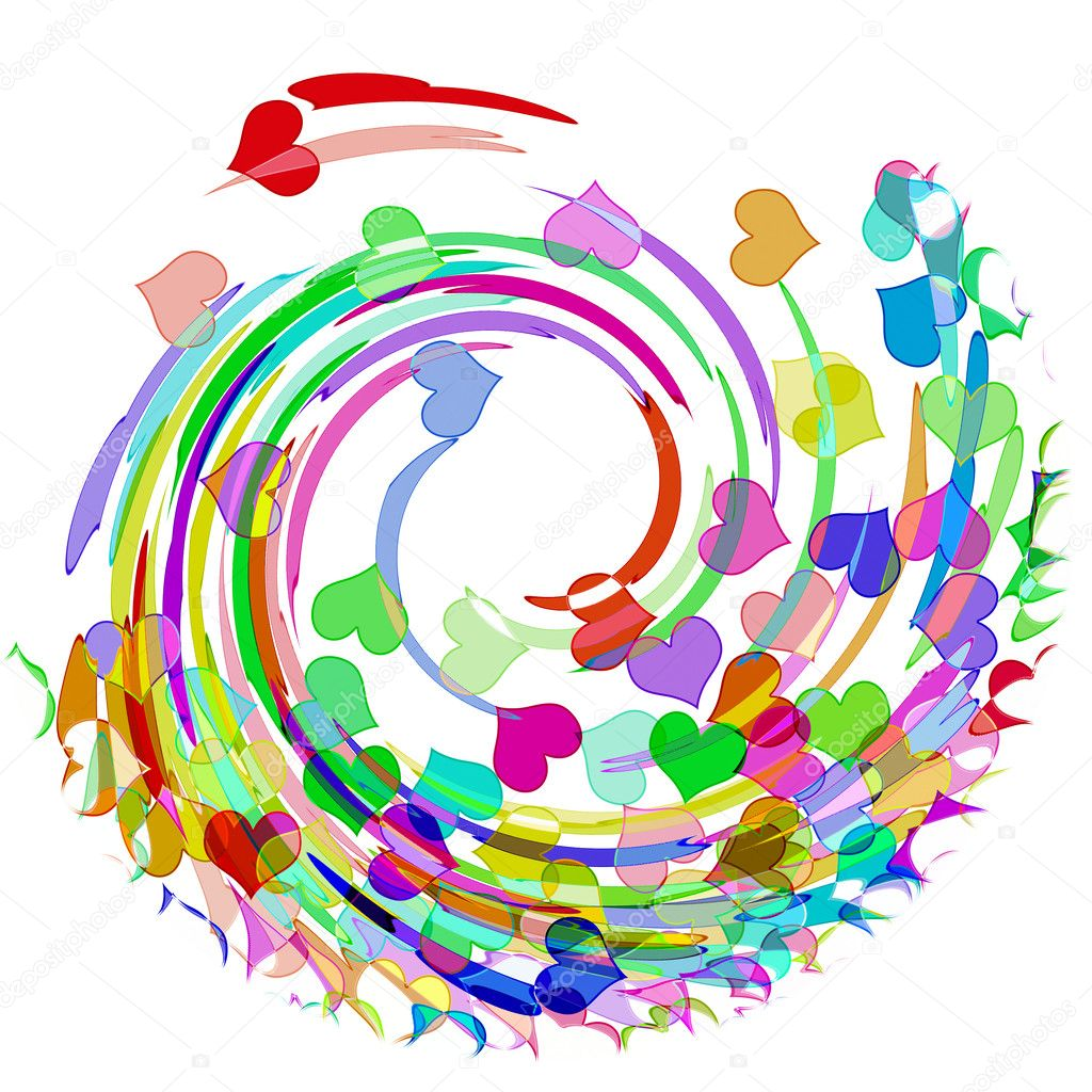 Hearts of different colors drawn on a white background and whirlpool effect  Stock Photo #3862685