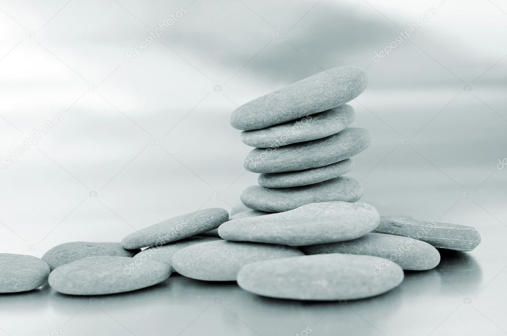 A pile of zen stones in black and white — Stock Photo #3892529