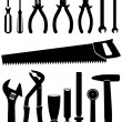 Vector Illustration Set Of 15 Different Tools — Stock Vector