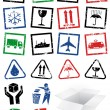 Vector illustration set of packing symbol stamps. — Stockvektor