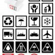 Vector illustration set of packing symbols and labels. — Grafika wektorowa