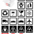 Vector illustration set of packing symbols and labels. — Stock vektor