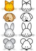 Vector illustration set of cartoon pet animals. — Stock Vector