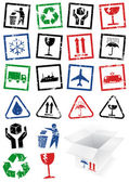 Vector illustration set of packing symbol stamps. — Stock Vector